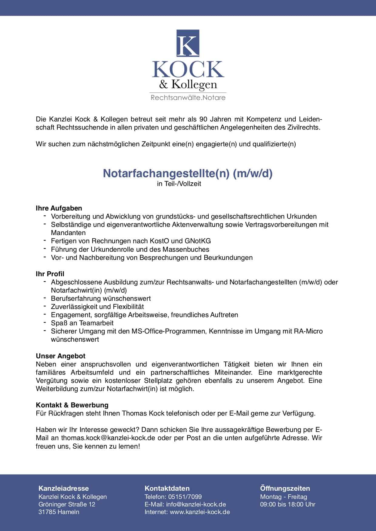 Kanzlei Kock & Kollegen Stellenausschreibungen